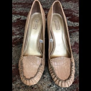Merona Faux Reptile High Heel Taupe Loafers Size 9